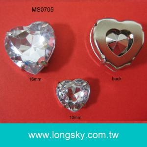 (#MS0705) Sewing on metal clothing button with heart stones