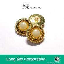 (#B4750/20L,28L,32L,40L,48L) 2-piece gold-pearl white combination button for lady suit