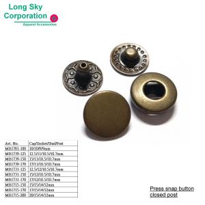 (MB17 series) brass made spring press snap button size from 10mm to 20mm