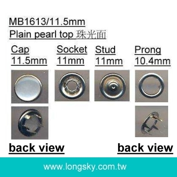 (MB1613/11.5mm) Lead free plain pearl top brass prong snap button for lady apparel