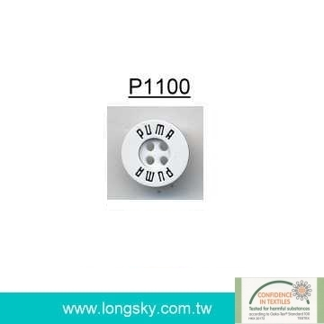 (#P1100) Custom Logo Laser engraved plastic button for man's shirts