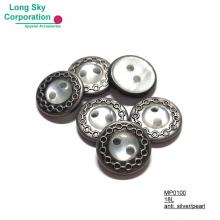 (MP0100) 18L nickel free antique silver with white pearl 2-hole sewing brass rim button