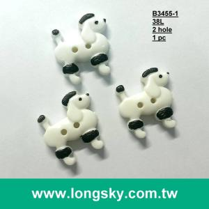 (#B3455-1) 24mm cute poodle with 2 hole to sew on the shirts.