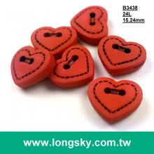 (B3438) 24L 2 hole sewing on red heart craft button