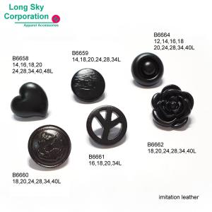 (B6658-B6664) matt black color faux leather finish shank suit buttons