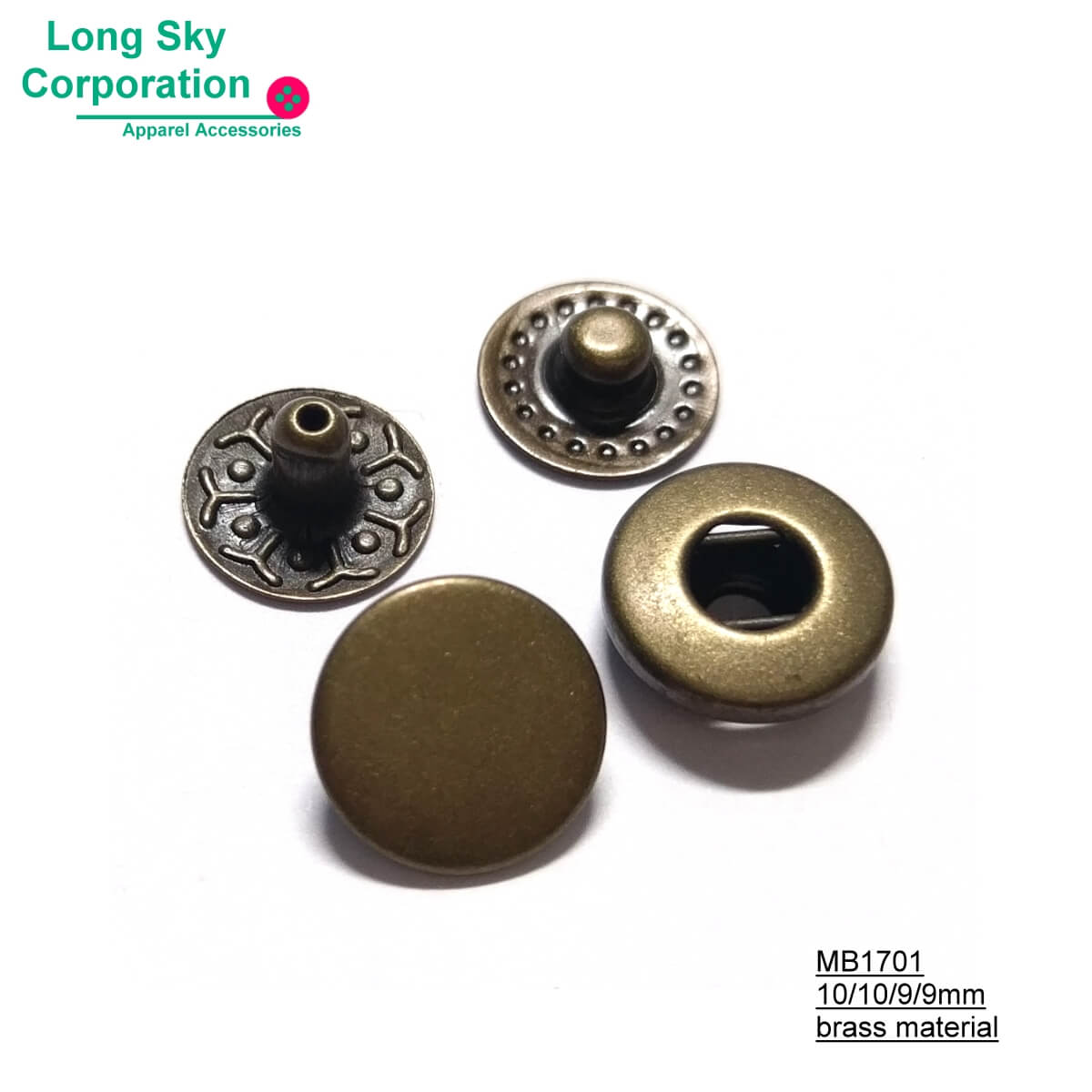 (MB1701) 10mm nickel free antique brass press snap button