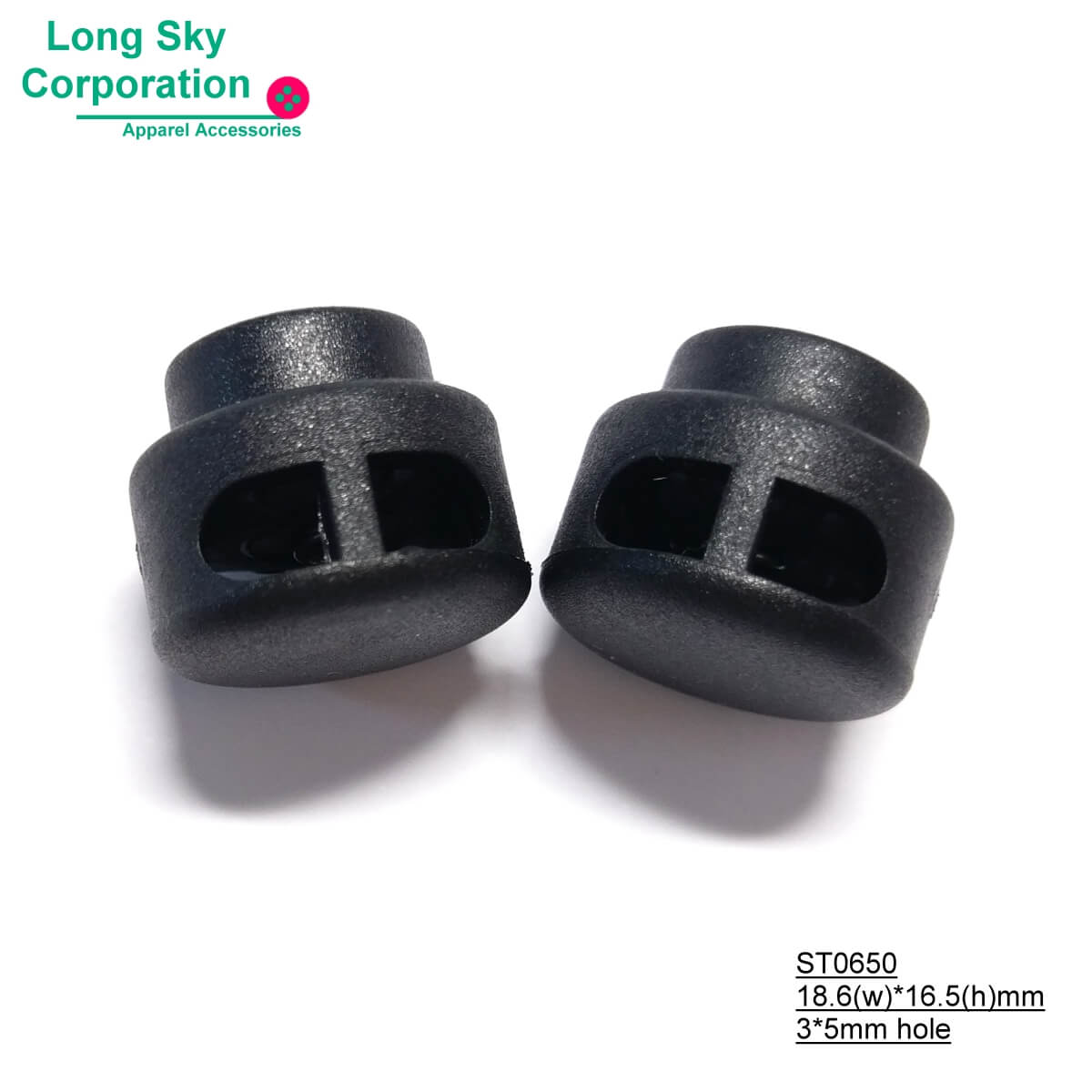 (#ST0650) 4mm hole double hole drum flat cord lock for sport coat