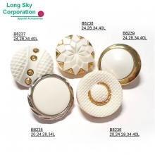 silver and white combination women garment buttons, B82-2-3