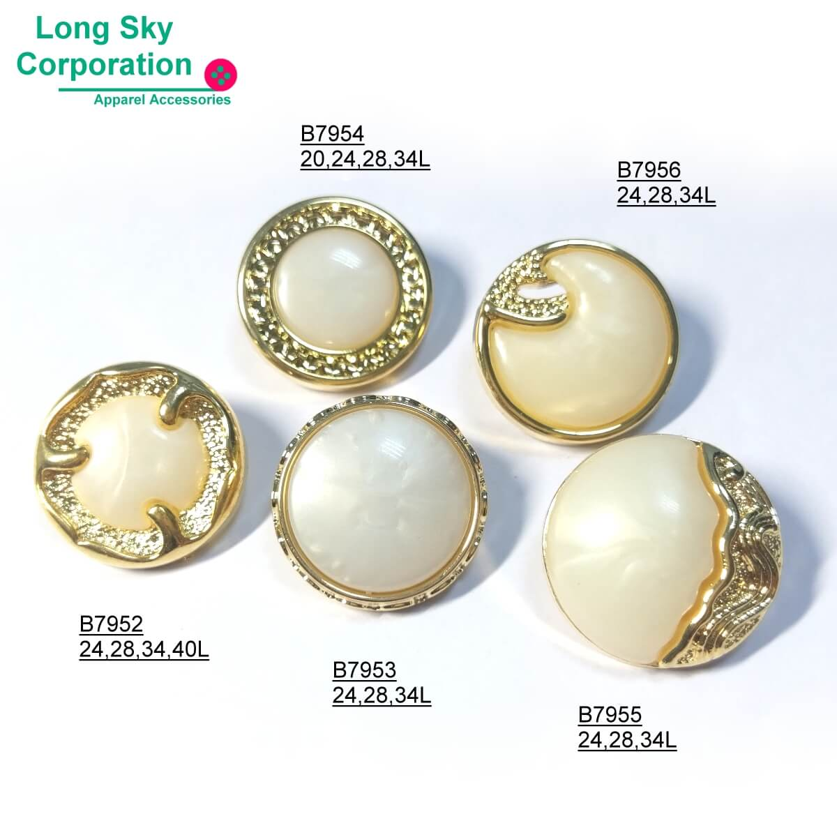 (B79 series) New 25 buttons collection for 2020 fashion wear pearl top combination button