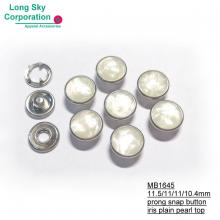(MB1645-115/11.5mm) fashion clothing prong snap button with white polyester iris top